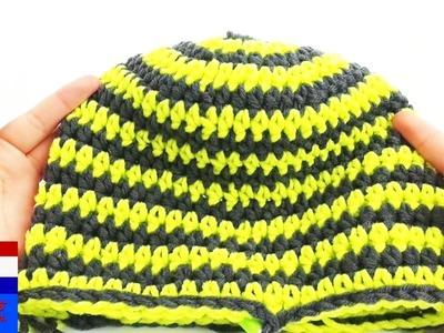 Haken muts wintermuts streepjes kleurenwissel makkelijk 51-55 cm groen.grijs