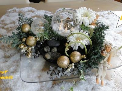DIY kerststukjes maken, Weihnachtsdeko basteln: met gerbera's en windlicht. Christmasdecorations