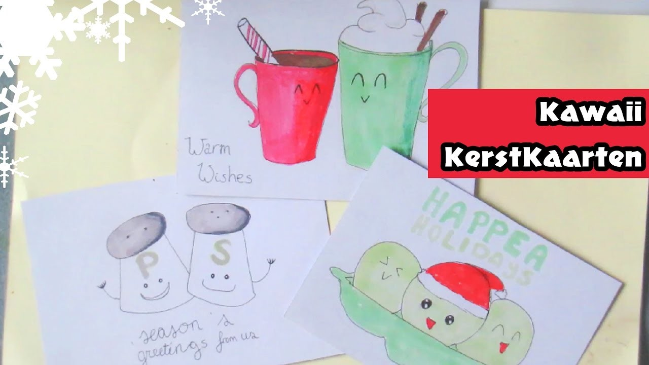 Kawaii Doodled Kerstkaarten ❆ DAG 4 ❆ Diy Christmas☆