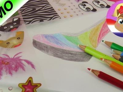 REGENBOOG schoen ontwerpen in het TOPMODEL Shoe Designer kleurboek | Rainbow Style met kleurpotloden