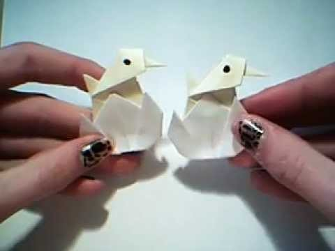 How to fold an origami baby chicken in an egg