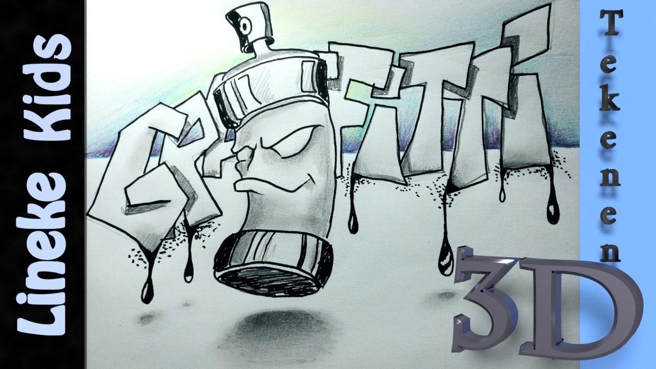 Hoe teken je een graffiti letters en spuitbus 3d tekenen 44 for Tekenen in 3d