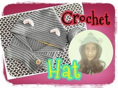 Crochet hat tutorial, crochet tutorrial, baby hats, crochet hat, ถักหมวกง่ายๆ  ถักหมวกหมาป่า #7