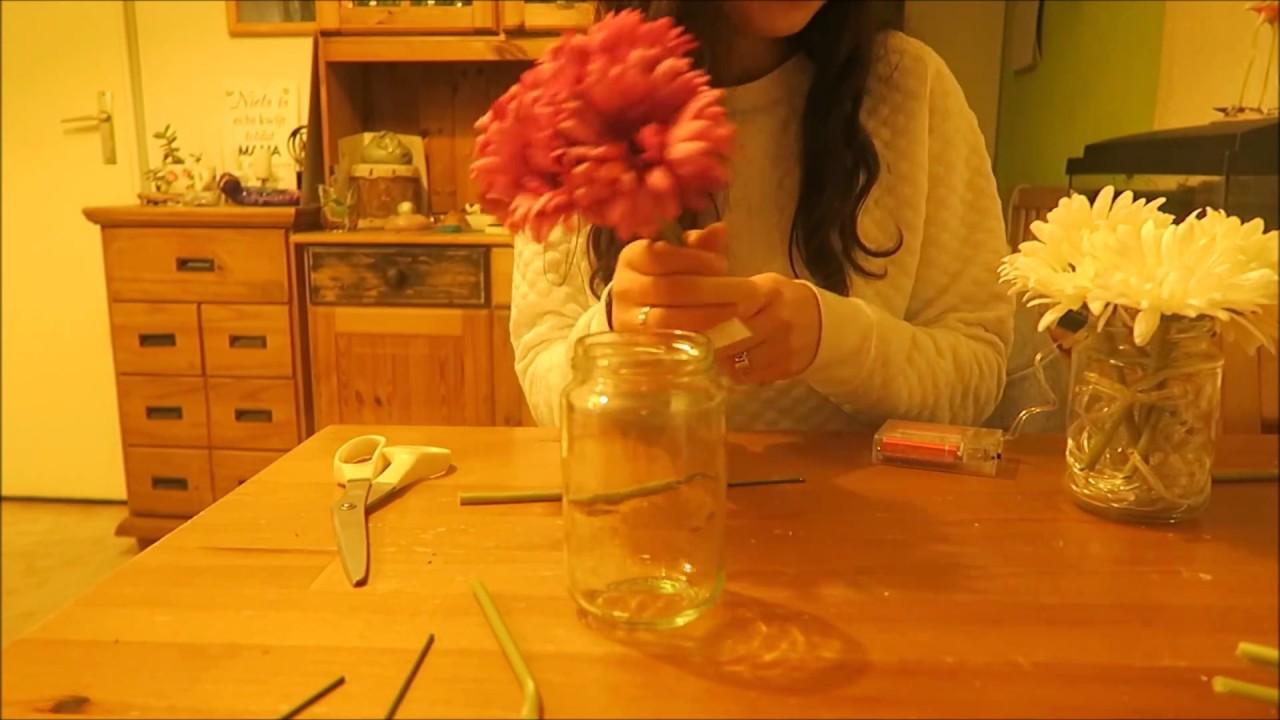 DIY RECYCLEN : JAR LIGHTS WITH FLOWERS