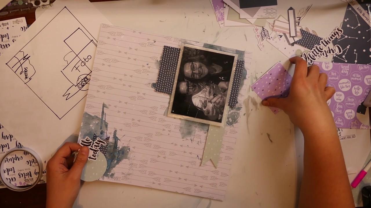 Scrapbook Layout Process video #9 Bridget Jones met DLS Scrapkit