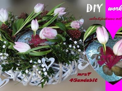 DIY: Frühlingsdeko, voorjaars-bloemschikken: valentinstag-Geschenk I Valentine's day gift idea