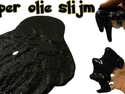 DIY Zelf olie slijm maken! Zo maak je super cool zwart slijm. met acryl verf en lijm.