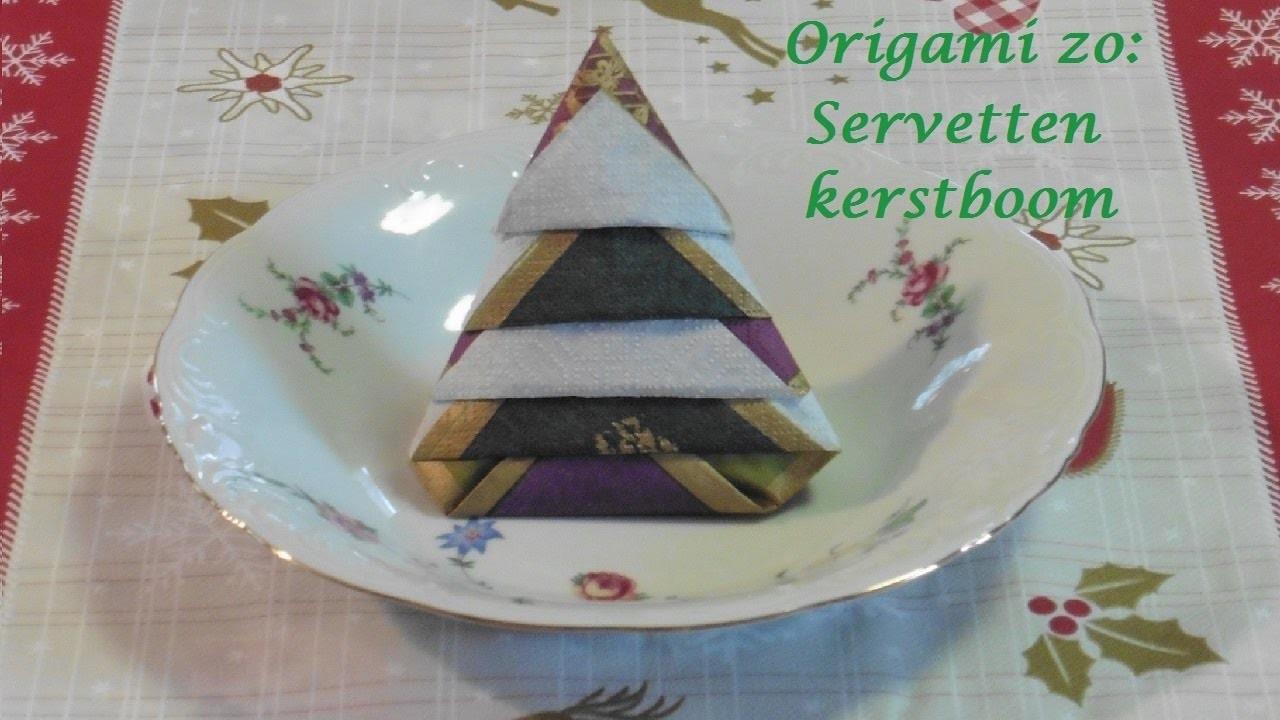 Origami zo: Servetten kerstboom