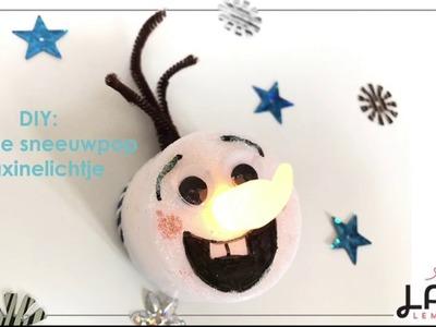 DIY: Sneeuwpop Olaf waxinelichtje voor in de kerstboom