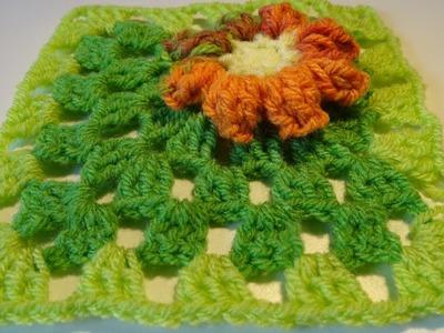 Crochet Popcorn Flower Granny Square
