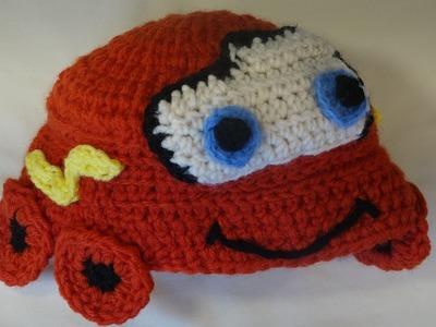 Gorro de rayo  Mcqueen crochet.Lightning McQueen hat for kids crochet